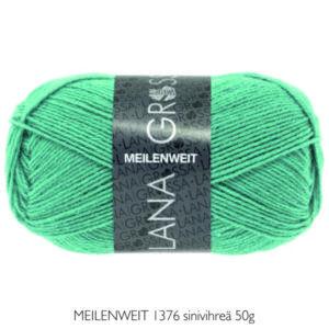 Villasukkalanka Lana Grossa MEILENWEIT 1376 sinivihreä 50g