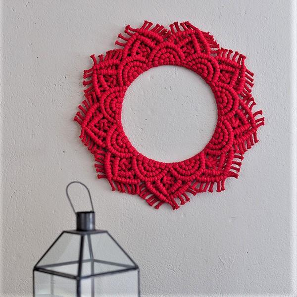 Aurora makramee rengas punainen web TaitoShopKankuri